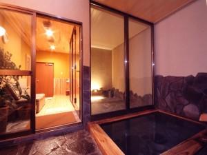 美人湯温泉の内湯が付いた貸切の個室岩盤浴です。
